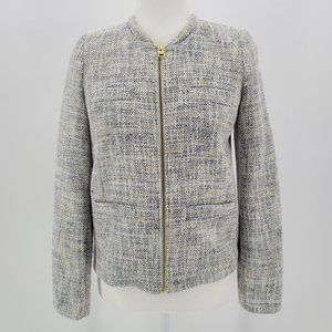 Cyrillus Paris Tweed Knit White Blue Jacket Sz 4